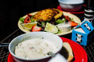 Crab cake and clam chowder! :)