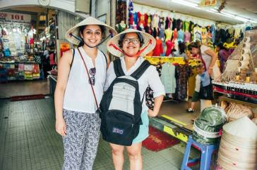 Us with our Vietnamese hats!